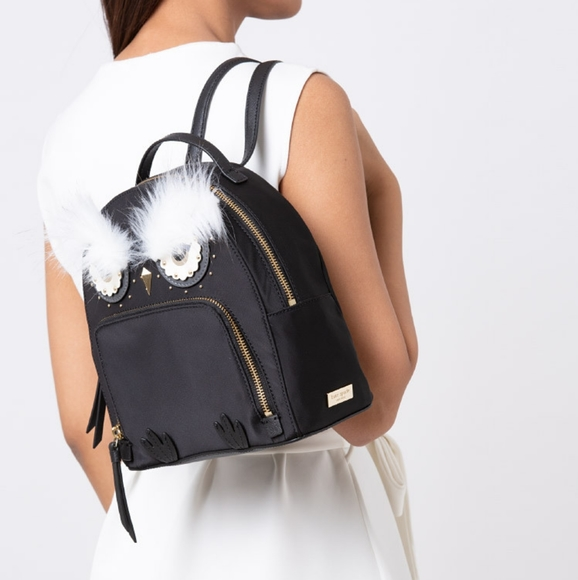 Kate spade Black Owl Backpack Bag Purse Handbag